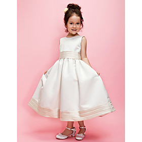 A-line/Ball Gown Jewel Tea-length Satin Flower Girl Dress With Ribbon and Flower