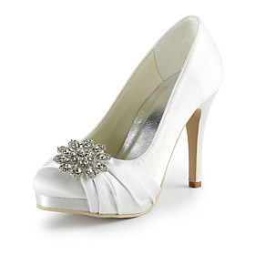 Satin Stiletto Heel Pumps With Crystal / Ruffles Wedding Party Women's Shoes