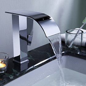 Sprinkle by Lightinthebox - Contemporary Waterfall Bathroom Sink Faucet(Chrome Finish)