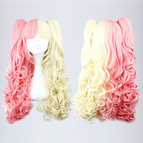 Pink and Golden Mixed Color Ponytail 70cm Sweet Lolita Curly Wig
