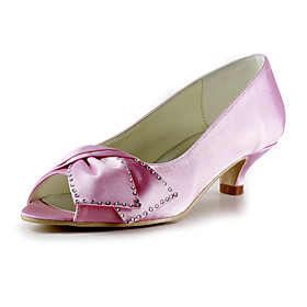 Satin Low Heel Peep Toe With Bowknot / Rhinestone Wedding Party Women's Shoes