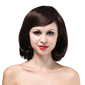 Mono Top High Quality Human Hair Medium Brown Curly Hair Wig