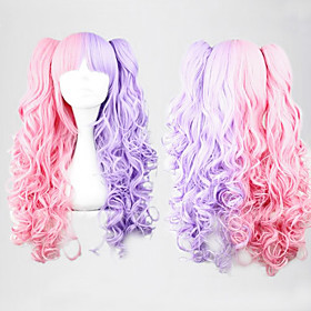 Pink and Purple Mixed Color Ponytail 70cm Sweet Lolita Curly Wig