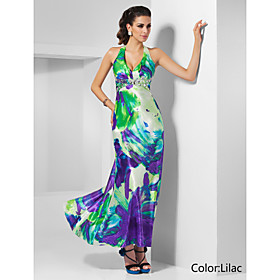 Sheath/Column Halter Ankle-length Pattern/Print Satin Evening Dress
