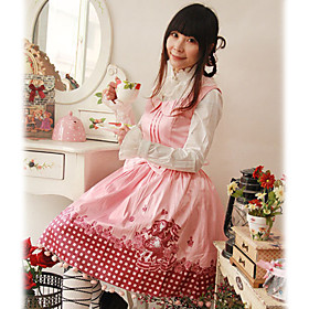 Little Red Sleeveless Knee-length Cotton Sweet Lolita Dress