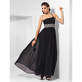 Sheath/Column One Shoulder Ankle-length Beaded Chiffon Evening Dress