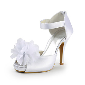 Satin Stiletto Heel Peep Toe Pumps With Flower Wedding / Party Shoes (More Colors)
