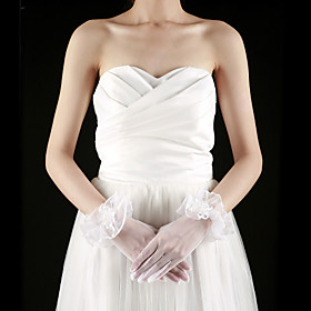 Tulle Fingertips Wrist Length Bridal Gloves With Appliques (More Colors)