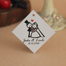 Personalized Rhombus Favor Tag - Sweet Wedding (Set of 30)