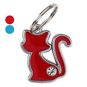 Slim Cat with Diamond Dog ID Tag Key Chain (Assorted Colors)