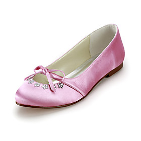 Satin Flat Heel Closed Toe With Bowknot Wedding Party Women's Shoes