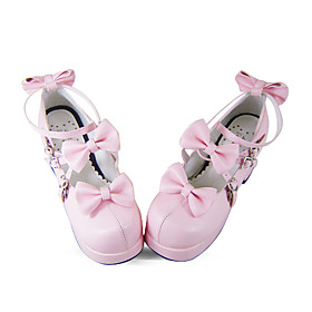 Handmade Pink PU Leather 7.5cm High Heel Punk Lolita Shoes