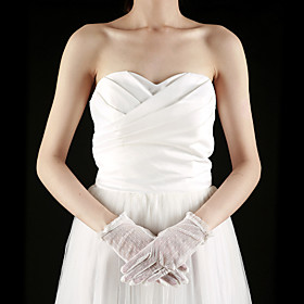 Lace Fingertips Wrist Length Bridal Gloves (More Colors)