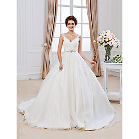 Ball Gown V-neck Chapel Train Organza Wedding Dress