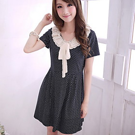 Ladies' Polka Dot Short Sleeves Dress