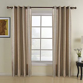 Jacquard Khaki Stripe Sheer Curtains (Two Panels)