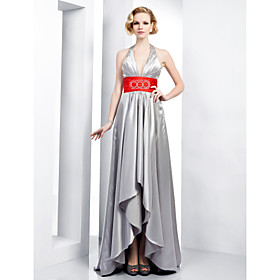 Sheath/ Column Halter Asymmetrical Stretch Satin Evening Dress