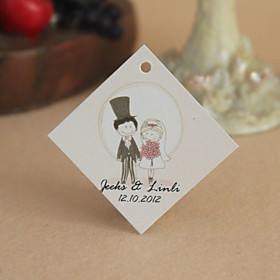 Personalized Rhombus Favor Tag - Cute Lovers (Set of 30)