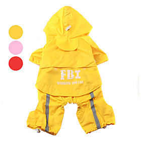 FBI Raincoat with Hat Brim for Dogs (XS-XL, Assorted Colors)