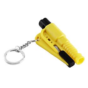 3-In-1 Car Emergency Tool(Whistle, Seat Belt Cutter, Window Break Keychain, Yellow)