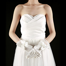 Satin / Lace Fingertips Wrist Length Bridal Gloves With Bow (More Colors)