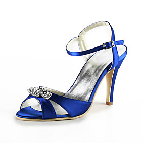 Satin Stiletto Heel Sandals With Rhinestone Wedding Party Women's Shoes