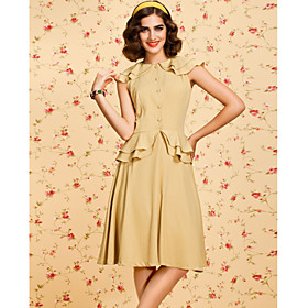 TS VINTAGE 1950s Ruffle Swing Dress