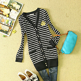 Ladies' Long Sleeve Navy Striped Sweater Cardigan
