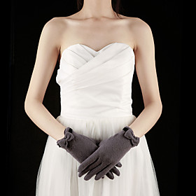 Wool Fingertips Wrist Length Party/Evening Women's Gloves With Bow (More Colors)
