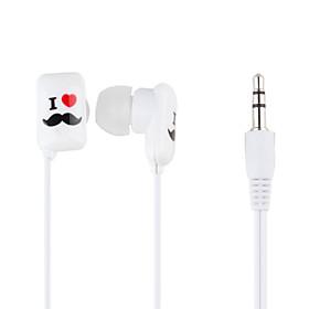 Beard Pattern In-Ear Earphones with Extra Earbuds (White)