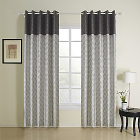 Casual Stripe Jacquard Energy Saving Curtains (Two Panels)