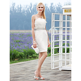 Sheath Column Strapless Short Mini Organza Satin Wedding Dress