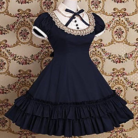 Short Sleeve Knee-length Cotton School Lolita Dress