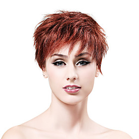 Capless Short 100% Human Hair Choclate Brown Curly Hair Wig
