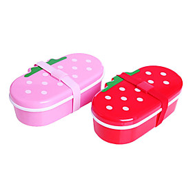 Strawberry Shaped Lunch Boxes With Chopsticks