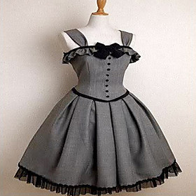 Sleeveless Knee-length Gray Cotton Gothic Lolita Dress