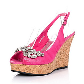 Elegant Leather Wedge Heel Sandals /Platform With Rhinestone Party/Evening Shoes