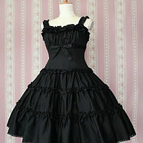 Sleeveless Knee-length Black Cotton Gothic Lolita Dress with Bow