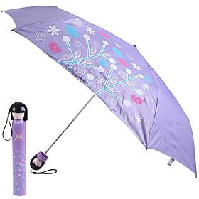 Kimono Doll Style Flower Blossom  Trees Painting Folding Umbrella (Purple)