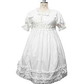 Puff Sleeve Knee-length Pure White Cotton Country Lolita Dress