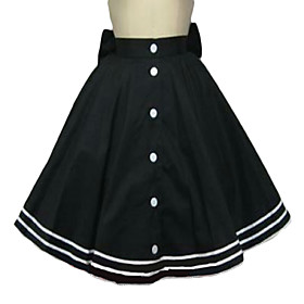 Knee-length Black Cotton Sailor Lolita Skirt