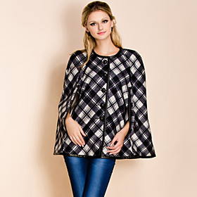 TS Round Neck Check Pattern Cloak Coat