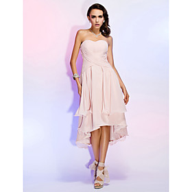 Sheath/Column Sweetheart Asymmetrical Chiffon Cocktail Dress