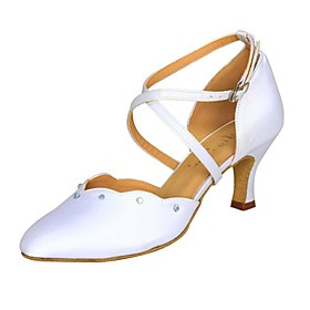 Satin Upper Dance Shoes With Rhinestone/ Buckle Ballroom Modern Shoes For Women's