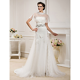 Trumpet/ Mermaid Strapless  Court Train Lace And Tulle Wedding Dress With A Wrap