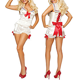 Adult Sexy Navy Admiral Sailor  White Girl Halloween Costume(3Pieces)