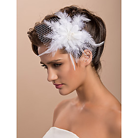 Gorgeous Tulle Feather Wedding Bridal Flower/ Corsage/ Headpiece