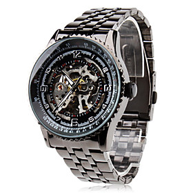 Men's Steel Analog Automatic Mechanical Wrist Watch (Black)