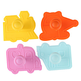 Fondant Cake DIY Decorating 3D Plunger Cutter Tools Car Plane Train Theme (Random Color, 4-Pack)