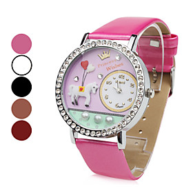 Women's White Horse PU Analog Quartz Wrist Watch (Assorted Colors)